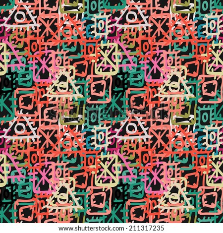 Colorful abstract ethnic seamless pattern. Aztec ornament. Geometric background. Circles,  triangles, square. Fabric, textile design. Endless print texture. Wallpaper - raster version    - stock photo