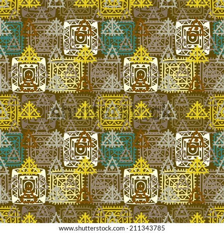Colorful abstract ethnic seamless pattern. Aztec ornament. Lace. Folk. Geometric background. Circles, squares, triangles. Fabric, textile design. Endless print texture. Wallpaper - raster version  - stock photo