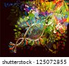 Colorful abstract floral on a black background. raster - stock photo