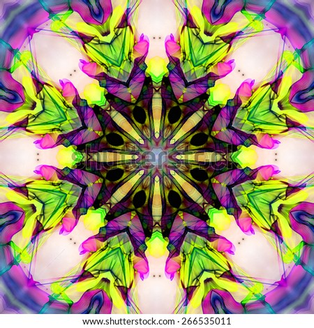 colorful  abstract fractal flower mandala tile  - stock photo