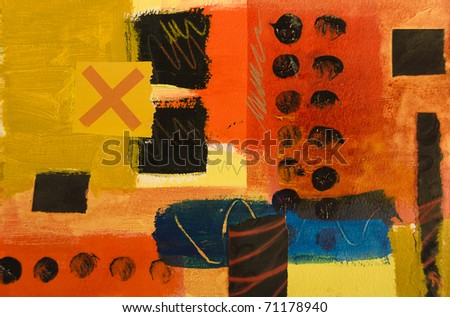 Colorful abstract geometric painting - stock photo
