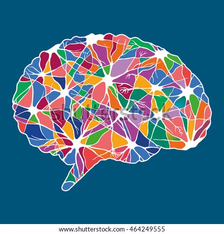 Colorful abstract human brain, illustration
