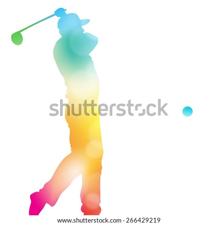 Colorful abstract illustration of a Golfer driving high to hit a hole in one in this Championship Tournament through a haze of summer blurs. - stock photo