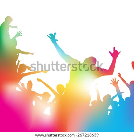 Colorful abstract illustration of a Young People dancing and Leaping through a haze of musical notes and summer blurs. - stock photo