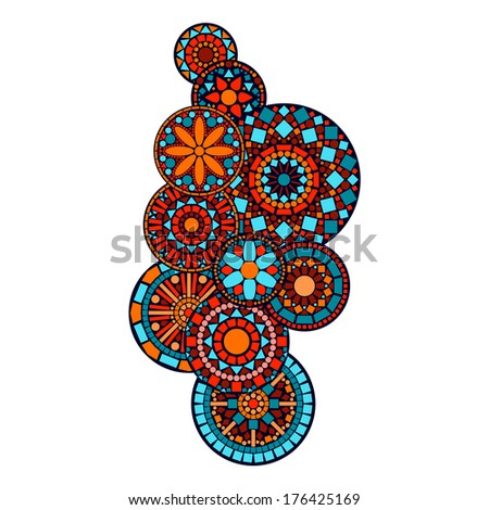 Colorful abstract indian floral geometric mandalas illustration. Raster version, editable file also available at my portfolio. - stock photo