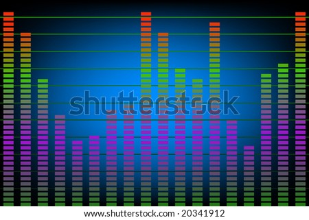 Colorful abstract of music or noise levels on simulated electronic display.