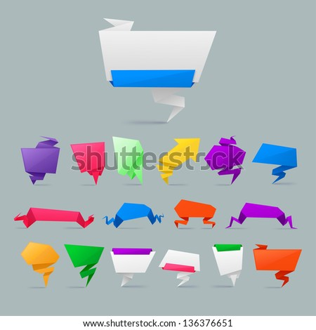 Colorful Abstract origami banners design element  .bitmap version