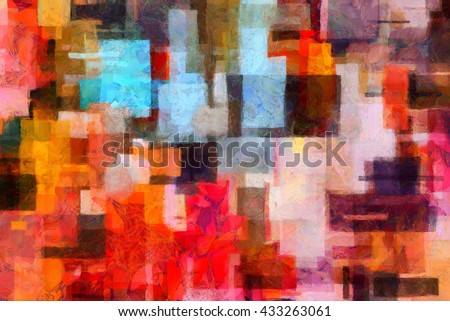 Colorful abstract painting in artistic style - stock photo