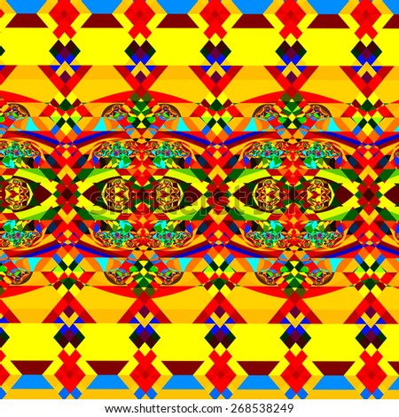 Colorful Abstract Pattern. Geometric Background Art. Digital Fractal Illustration. Chaotic Decorative Image. Psychedelic Fantasy Wallpaper. Beautiful Artistic Graphic. Stylish Rainbow Colors. - stock photo