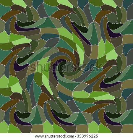 COLORFUL ABSTRACT PATTERN imitating a whir pool. Realized in tints of green and brown colors. Print design. For textile fabrics, wallpapers, background, warping paper, backdrops, packaging paper etc.  - stock photo