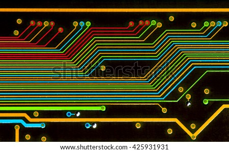 colorful abstract pcb board close-up texture