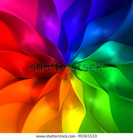 Colorful abstract petal 3d illustration background - stock photo