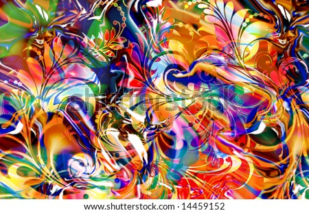 colorful abstract reflective scroll fern design with motion blur treatment - stock photo