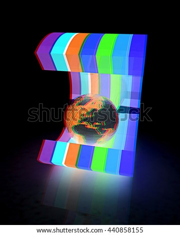colorful abstract shape and Earth. 3D illustration. Anaglyph. View with red/cyan glasses - stock photo