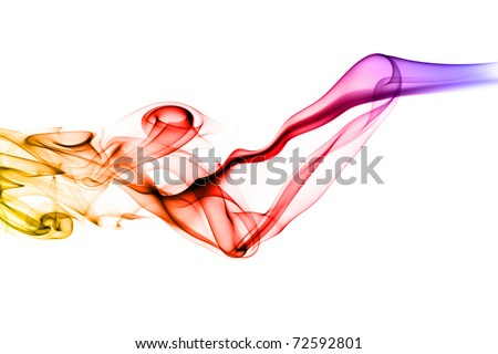 Colorful Abstract smoke shape over the white background - stock photo