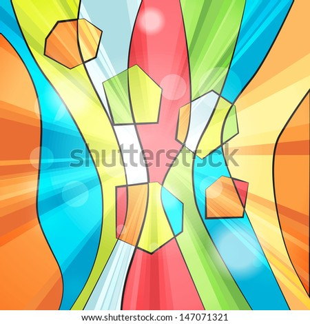 Colorful abstract striped background with rays - stock photo