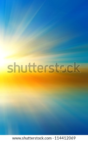 Colorful abstract sunset in a two-way rainbow - stock photo