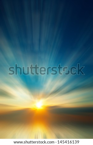 Colorful abstract sunset with sun rays - stock photo