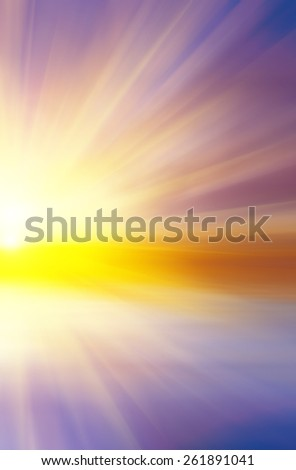 Colorful abstract sunset with sun rays. Abstract composition - stock photo
