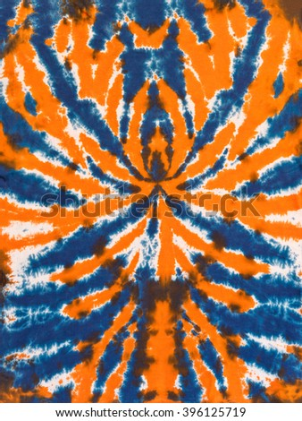 Colorful Abstract Tie Dye Pattern Design Orange Blue Spider - stock photo