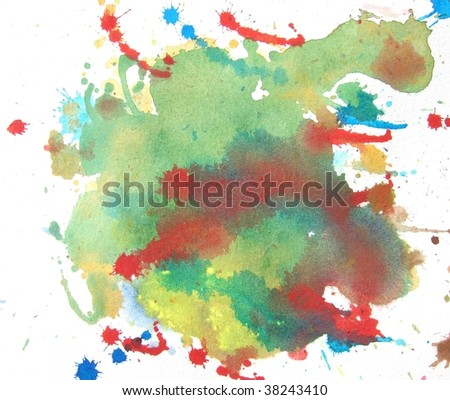colorful abstract watercolor background splash - stock photo