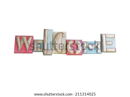 Colorful abstract Welcome Sign isolated with white background - stock photo