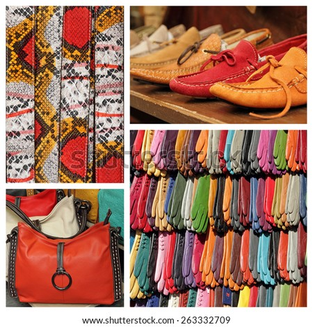 colorful accessories collection - images from  San Lorenzo market in Florence, Italy - stock photo