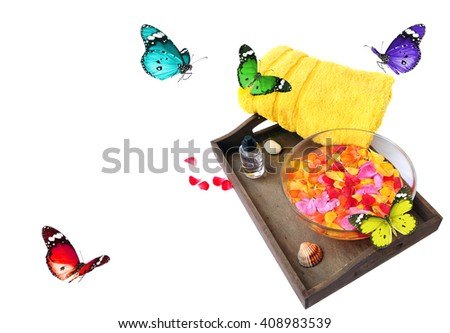 Colorful accessories for SPA and butterflies. Vacation theme. White background.  - stock photo