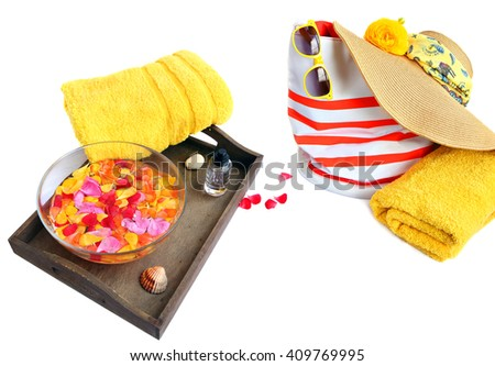 Colorful accessories for summer beach and SPA. Vacation theme. White background. - stock photo
