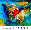 Colorful acrylic painting with a heart on canvas. - stock photo