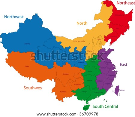 Colorful administrative divisions of China with capital cities - stock photo