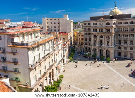 Colorful aerial view of Old Havana with the famous San Francisco Square on the foreground - stock photo