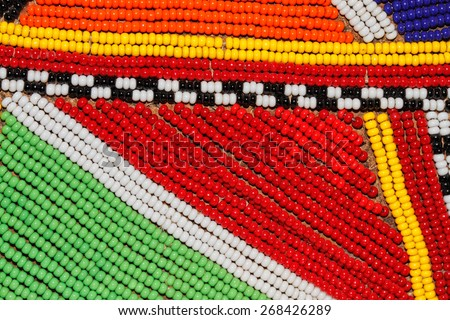 Colorful African beads used as decoration by the Masai tribe in Kenya - stock photo
