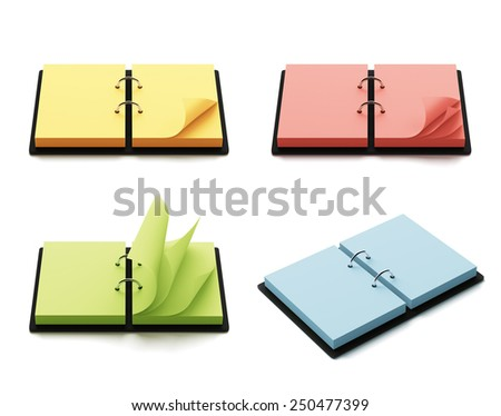 Colorful agenda with copy space isolated on white background - stock photo