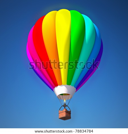 colorful air balloon against blue sky 3d illustration - stock photo