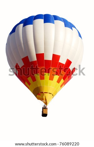 Colorful air balloon flying at the end of day - stock photo