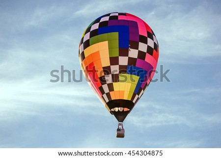 Colorful air balloon with beautiful sky