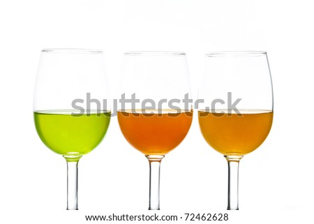 Colorful alcohol in wineglass.