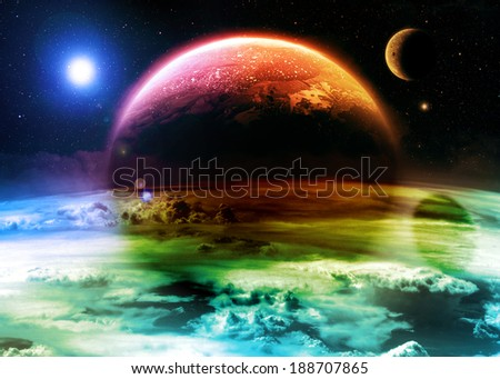 Colorful Alien World - Elements of this image furnished by NASA - stock photo