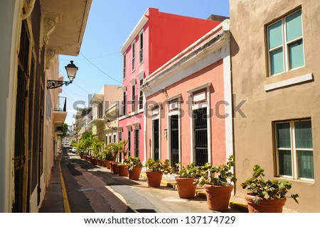Colorful alley in Old San Juan, Puerto Rico - stock photo