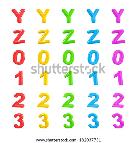 Colorful Alphabet and Numbers 3D Ballons Y-3 - stock photo