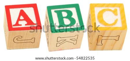 Colorful alphabet blocks spelling the word ABC - stock photo