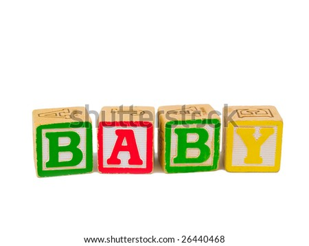 Colorful alphabet blocks spelling the word BABY. - stock photo
