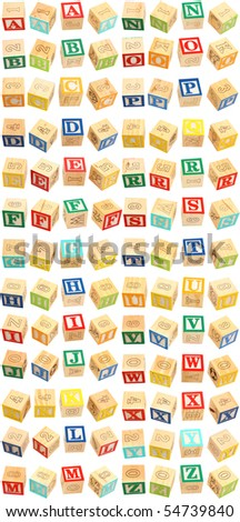Colorful alphabet blocks with letters A through Z. - stock photo