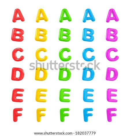 Colorful Alphabet 3D Balloons A-F - stock photo