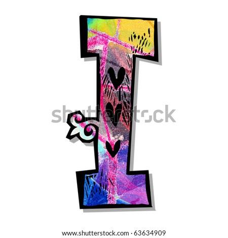 colorful alphabet, hand drawn letter I isolated on white background - stock photo