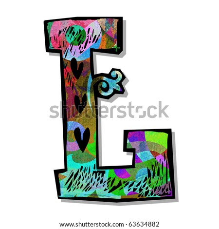 colorful alphabet, hand drawn letter L isolated on white background - stock photo