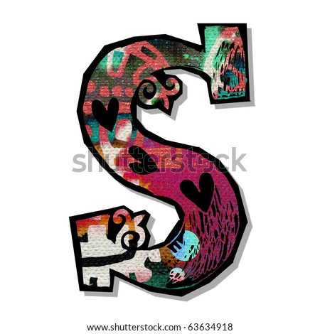 colorful alphabet, hand drawn letter S isolated on white background - stock photo