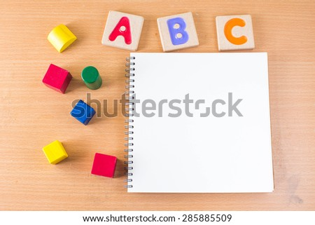 "Colorful alphabet letters ,""abc"" and the book - stock photo"