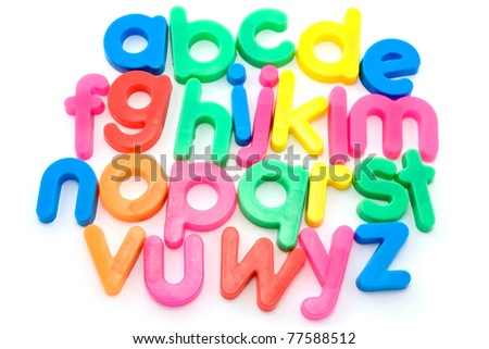 Colorful alphabet letters isolated on white background.